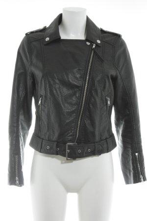 H&M Kunstlederjacke schwarz-silberfarben Biker-Look