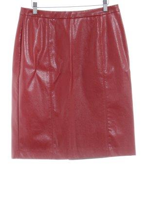 H&M Falda de cuero de imitación rojo oscuro estilo fiesta