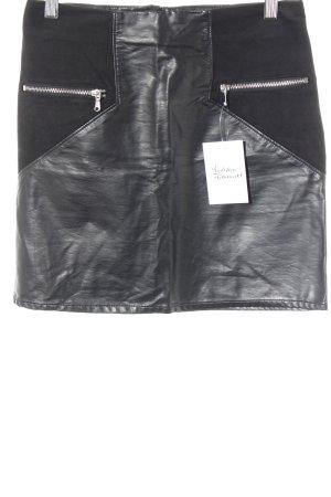 H&M Kunstlederrock schwarz Biker-Look