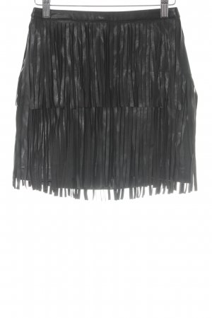 H&M Falda de cuero de imitación negro Estilo ciclista