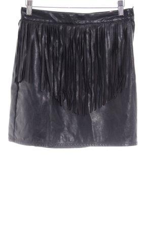 H&M Kunstlederrock schwarz extravaganter Stil