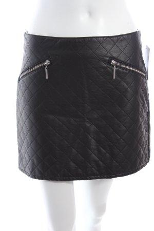 H&M Kunstlederrock schwarz Steppmuster sportlicher Stil
