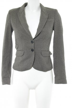 H&M Kurz-Blazer hellgrau-schwarz Allover-Druck Business-Look