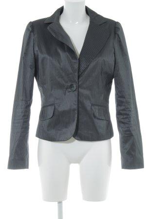 H&M Korte blazer donkergrijs gestreept patroon Metalen look