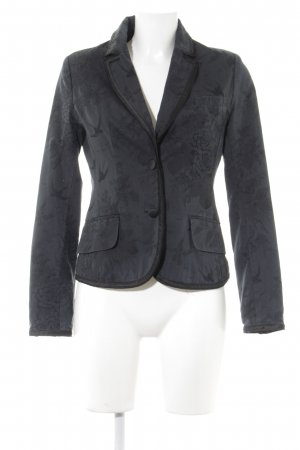 H&M Kurz-Blazer petrol-schwarz abstraktes Muster Business-Look