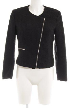 H&M Kurz-Blazer schwarz Webmuster Casual-Look