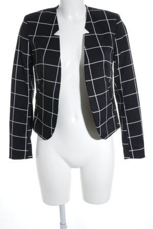 H&M Kurz-Blazer schwarz-weiß Karomuster Business-Look