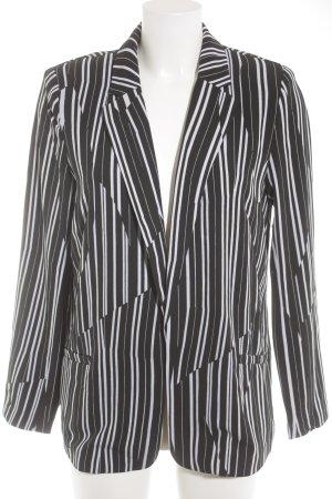 H&M Kurz-Blazer schwarz-weiß Streifenmuster Business-Look