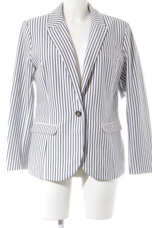 H&M Kurz-Blazer weiß-dunkelblau Streifenmuster Casual-Look