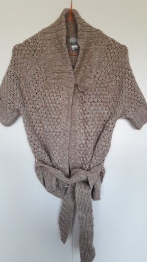 H&M Short Sleeve Knitted Jacket beige mixture fibre
