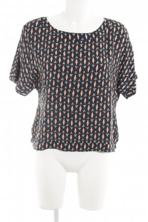 H&M Kurzarm-Bluse abstraktes Muster Retro-Look