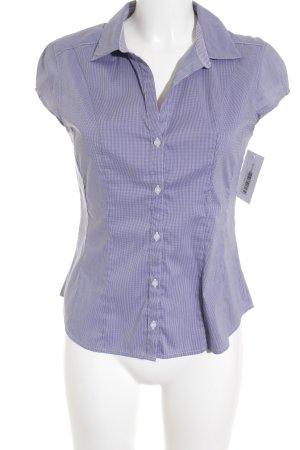 H&M Kurzarm-Bluse blau-weiß Karomuster Business-Look