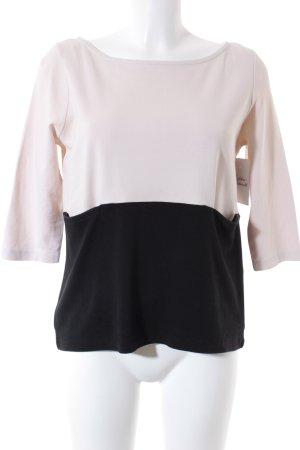 H&M Kurzarm-Bluse creme-schwarz Elegant