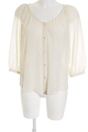 H&M Kurzarm-Bluse creme Transparenz-Optik