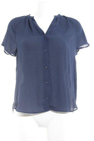 H&M Kurzarm-Bluse dunkelblau Casual-Look