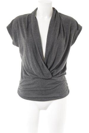 H&M Kurzarm-Bluse dunkelgrau meliert schlichter Stil