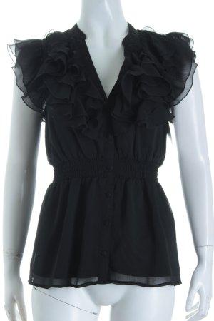 H&M Kurzarm-Bluse schwarz Romantik-Look