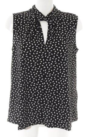 H&M Kurzarm-Bluse schwarz-weiß abstrakter Druck Business-Look