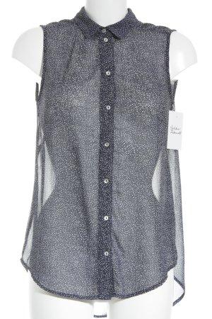 H&M Kurzarm-Bluse weiß-dunkelblau Casual-Look