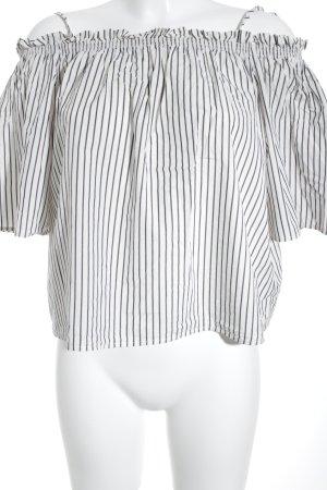 H&M Kurzarm-Bluse weiß-dunkelblau Streifenmuster Casual-Look