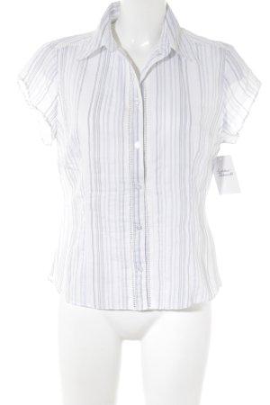 H&M Blouse met korte mouwen wit-azuur gestreept patroon casual uitstraling