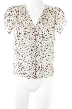 H&M Kurzarm-Bluse wollweiß-schwarz Punktemuster schlichter Stil
