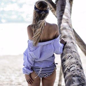 H&M Kurzarmhemd hellblau-weiß Streifenmuster Boyfriend-Look