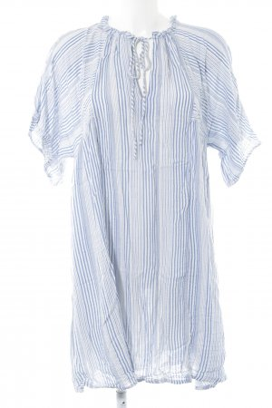 H&M Kurzarmkleid neonblau-weiß Webmuster Casual-Look