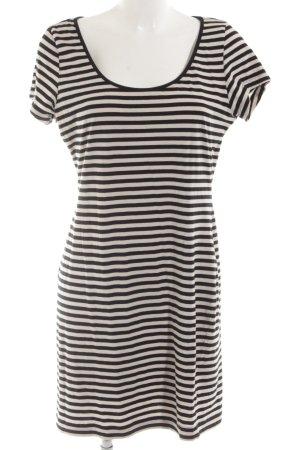 H&M Kurzarmkleid schwarz-wollweiß Streifenmuster Casual-Look