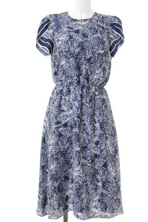 H&M Kurzarmkleid dunkelblau-weiß Allover-Druck Casual-Look