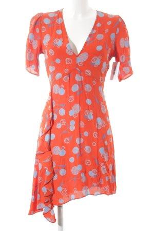 H&M Kurzarmkleid rot-blau florales Muster schlichter Stil