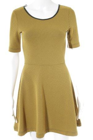 H&M Kurzarmkleid schwarz-ocker abstraktes Muster 70ies-Stil