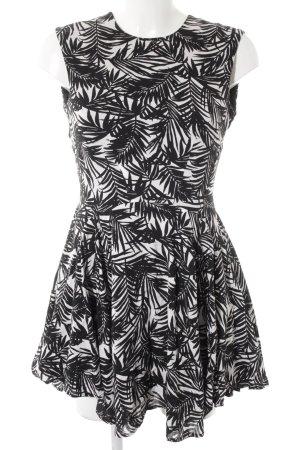 H&M Kurzarmkleid schwarz-weiß abstraktes Muster Casual-Look