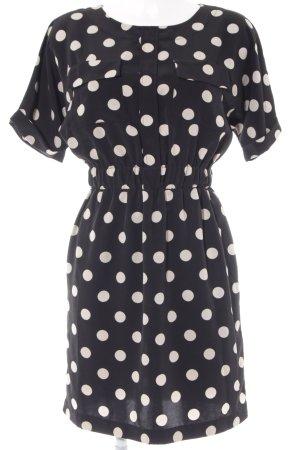 H&M Kurzarmkleid schwarz-weiß Punktemuster Business-Look
