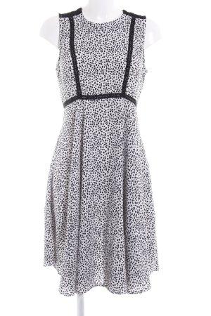 H&M Kurzarmkleid schwarz-weiß Punktemuster Elegant