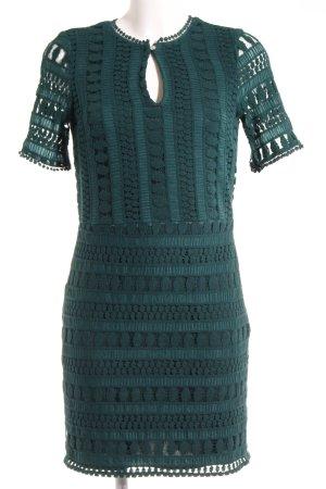 H&M Kurzarmkleid waldgrün Streifenmuster Elegant