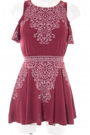 H&M Kurzarmkleid weiß-karminrot florales Muster Romantik-Look