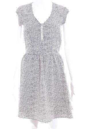 H&M Kurzarmkleid weiß-schwarz Farbtupfermuster Casual-Look
