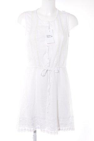 H&M Kurzarmkleid weiß-wollweiß Romantik-Look