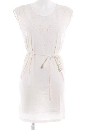 H&M Kurzarmkleid wollweiß Lochstrickmuster klassischer Stil