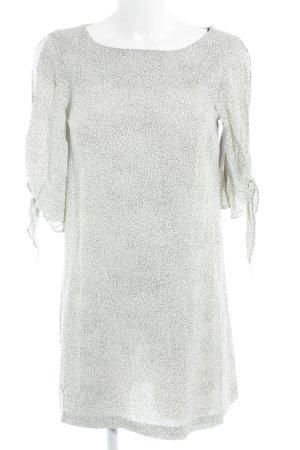 H&M Kurzarmkleid wollweiß-schwarz Punktemuster Casual-Look