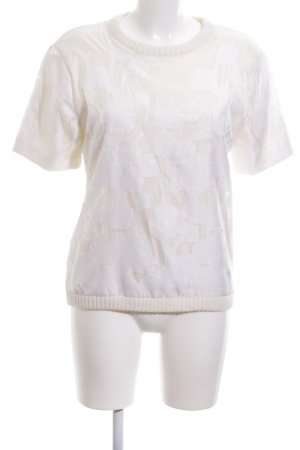 H&M Short Sleeve Sweater natural white-white flower pattern casual look