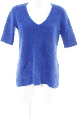 H&M Kurzarmpullover blau Kuschel-Optik