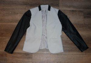 H&M Kurzblazer Damen creme hellbeige schwarz Leder Gr. L / 40