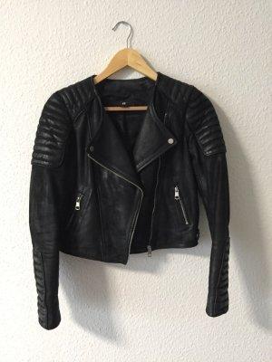 H&M kurze Echtlederjacke Bikerjacke schwarz 34