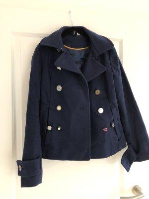 H&M kurze Herbst-Wolljacke dunkelblau mit bunten Knöpfen Gr. 36
