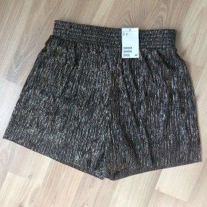 H&M Kurze Hose Shorts Schwarz Gold Silber Kupfer Bronze metallic plissiert XS 34 neu