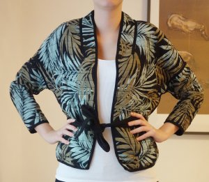 H&M kurze leichte gesteppte Jacke Weste Jungel Blätter Muster mit Gürtel Gr. 38