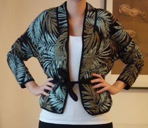 H&M kurze leichte Jacke Weste Jungel Blätter Muster mit Gürtel Gr. 38