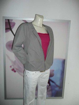 H&M kurze Sommer Damen Blouson Jacke kragenlos Silber Grau 38